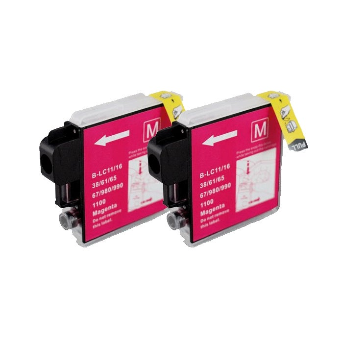 Brother LC65 Compatible Magenta Ink Cartridge (Pack of 2)