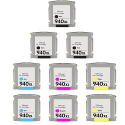 Hewlett Packard 940XL Black/Color Ink Cartridge (Pack of 9) (Remanufactured)