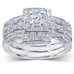 14k Gold 4/5ct TDW Diamond 3-piece Halo Bridal Ring Set