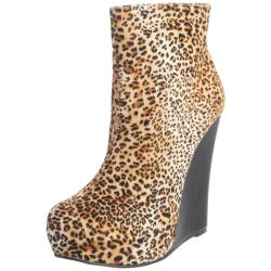Luichiny Women's 'Jam Ming' Leopard Wedge Ankle Boots