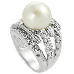 Journee Collection Rhodium-plated Faux Pearl and Cubic Zirconia Ring