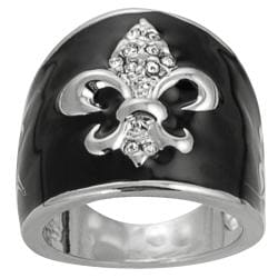 Journee Collection Rhodium-plated Cubic Zirconia Fleur de Lis Ring