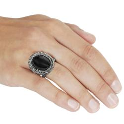 Journee Collection Rhodium-plated Antique-style Black Enamel Dome Ring