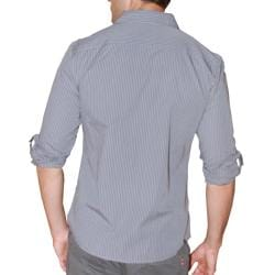 191 Unlimited Men's Grey Cotton Roll-sleeve Shirt