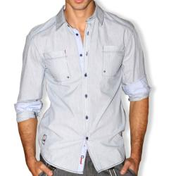 191 Unlimited Men's Grey Micro-stripe Cotton Stitched Shirt