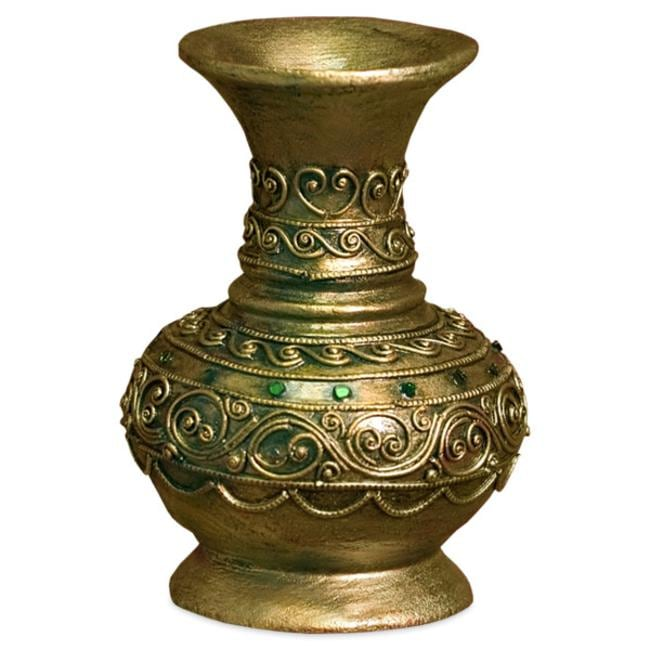 Gold Lacquer Vase With Gold Trim And Inlaid Glass (Thailand)