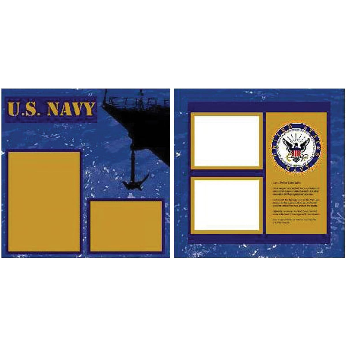 U.S. Navy 2 Page Layout 12X12in