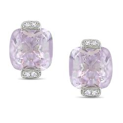 Miadora 10k White Gold 3 5/8ct TGW Pink Amethyst and Diamond Accent Earrings