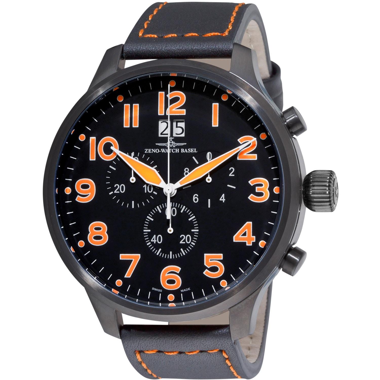 Zeno Mens SOS Black Dial Black Leather Strap Chronograph Watch
