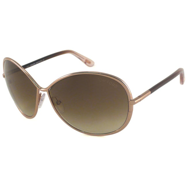 Tom Ford Women's TF0180 Iris Gold/Brown-Gradient Rectangular Sunglasses