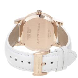 Burberry Women's 'Large Check' Silver Dial White Leather Strap Watch