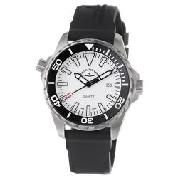 Zeno Men's 'Divers' White Dial Black Rubber Strap Watch