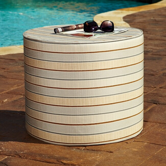 Brooklyn Tan/ Grey Stripe 16-inch Indoor/ Outdoor Round Sunbrella Ottoman