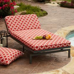 Alyssa Red Adjustable Outdoor Chaise with Corded Cushion
