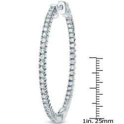 14k Gold 3ct TDW Diamond Hoop Earrings (H-I, SI1-SI2)