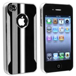 Chrome Aluminum Black/ White Snap-on Case for Apple iPhone 4/ 4S