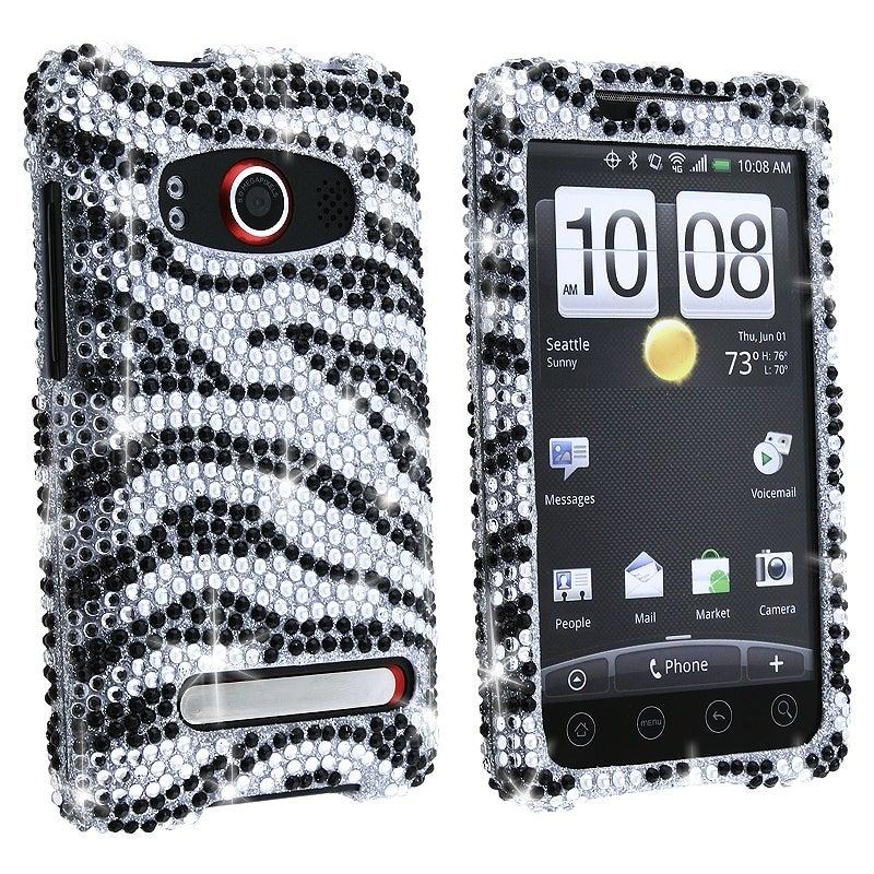 MYBAT Silver/ Black Zebra Diamond Snap-on Case for HTC EVO 4G