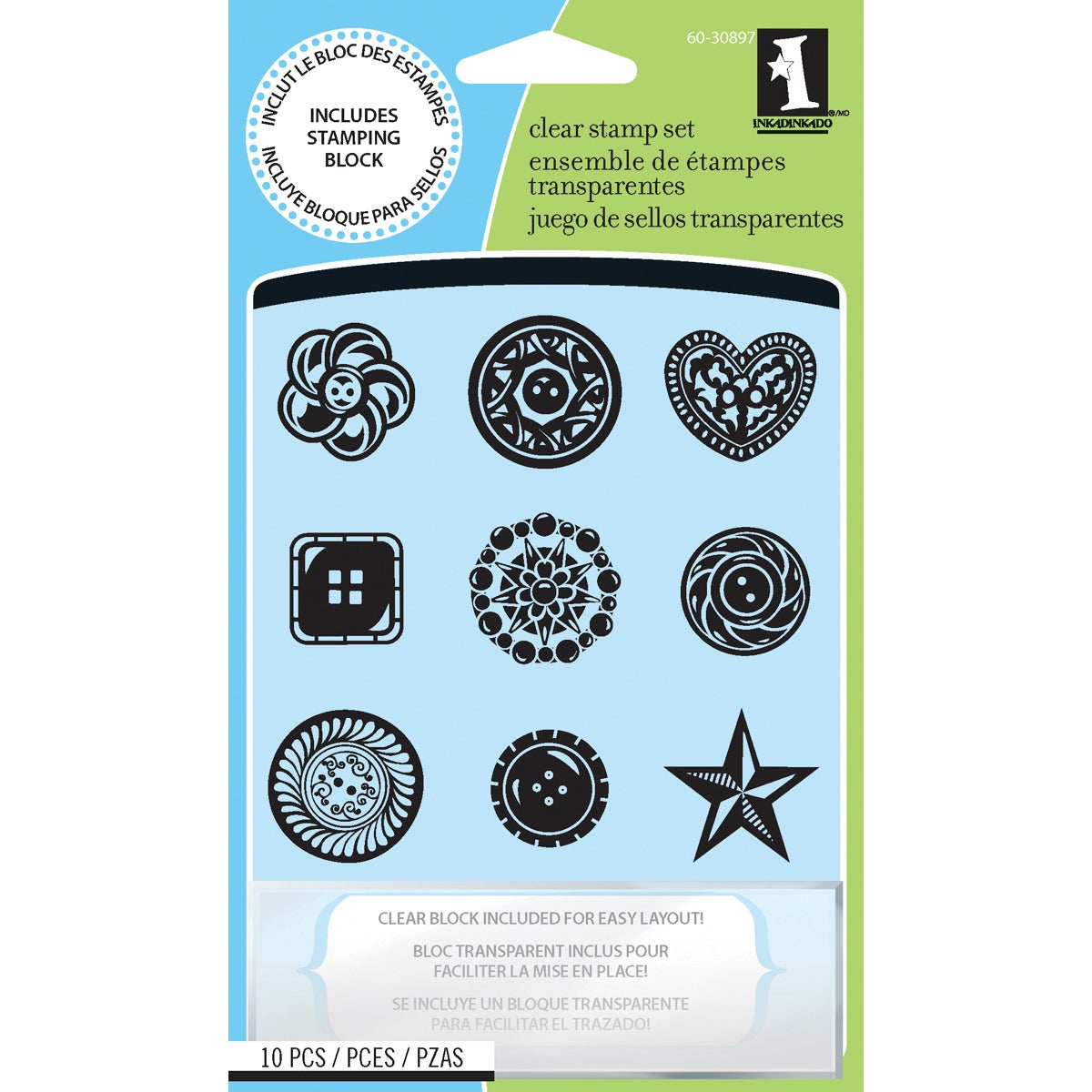 Inkadinkado 'Buttons' Inchie Clear Stamps