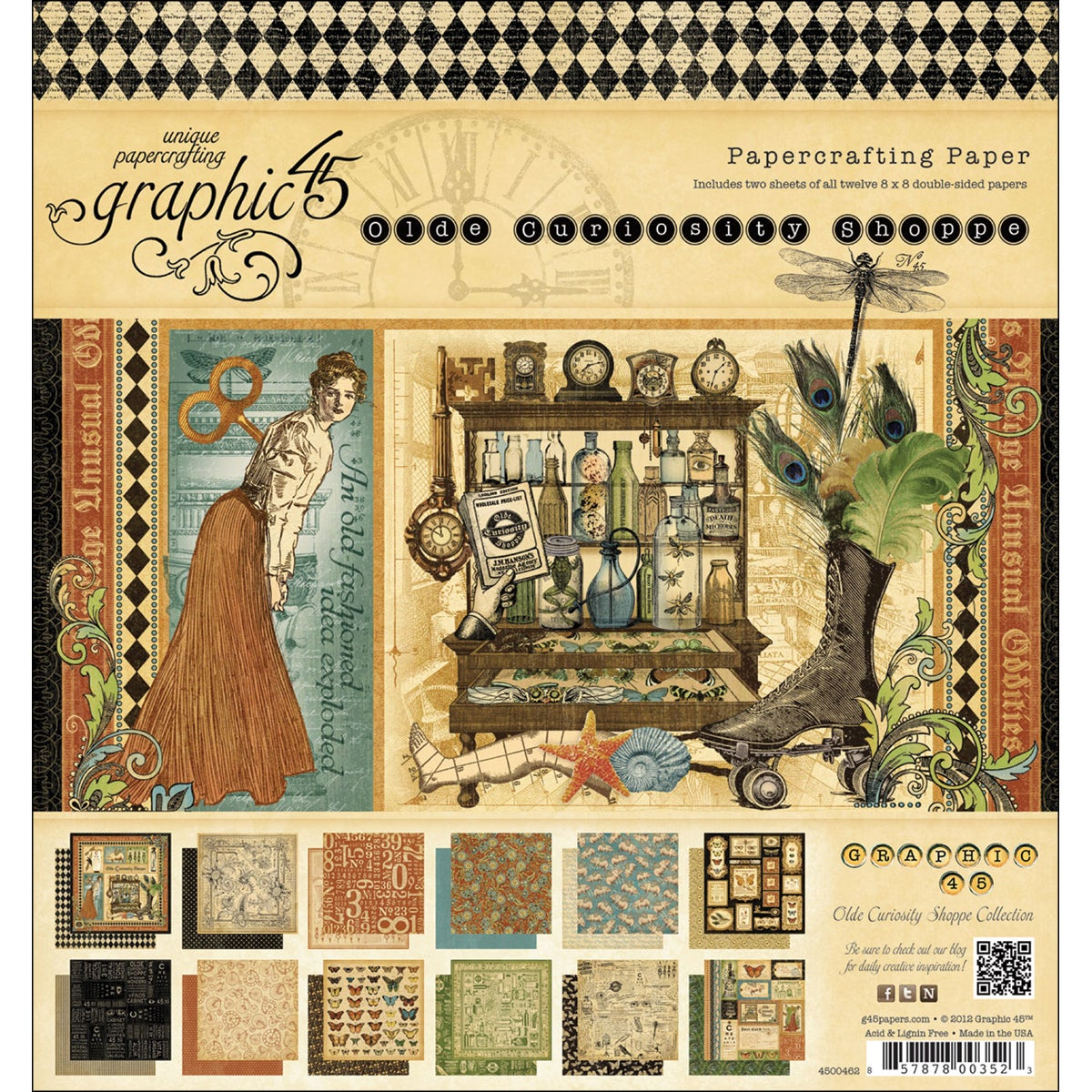 "Olde Curiosity Shoppe Double-Sided Paper Pad 8""X8in"