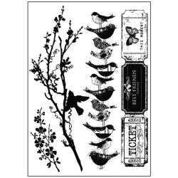 Songbird Cling Stamps -Tickets