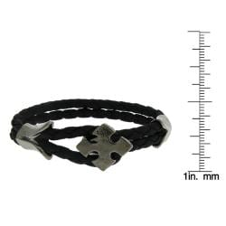 Black Leather and Black-plated Arrow Cross Braided Bracelet