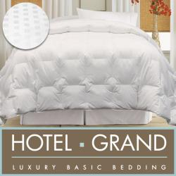 Hotel Grand Egyptian Cotton 600 Thread Count Damask Check White Goose Down Comforter
