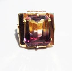 18k Gold Ametrine Art Deco 1930&#39;s Ring