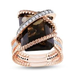 18k Pink-gold Plated Silver 11ct Smokey Quartz 1/3ct TDW Ring (G-H, I1)