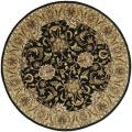 Handmade Traditions Black/ Light Brown Wool Rug (6' Round)