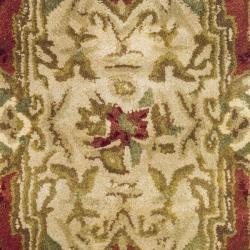 Handmade Classic Burgundy/ Beige Wool Rug (2' x 3')
