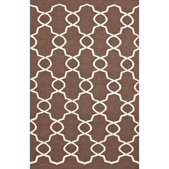 nuLOOM Handmade Flatweave Marrakesh Trellis Brown Wool Rug (7'6 x 9'6)