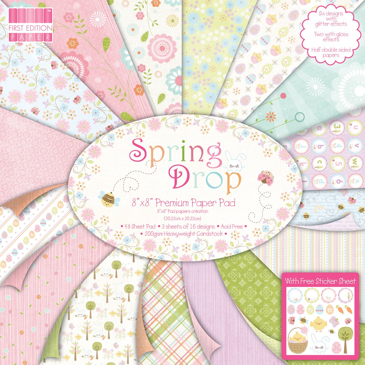 "Premium Paper Pad 8""X8"" 48/Sheets-Spring Drop"