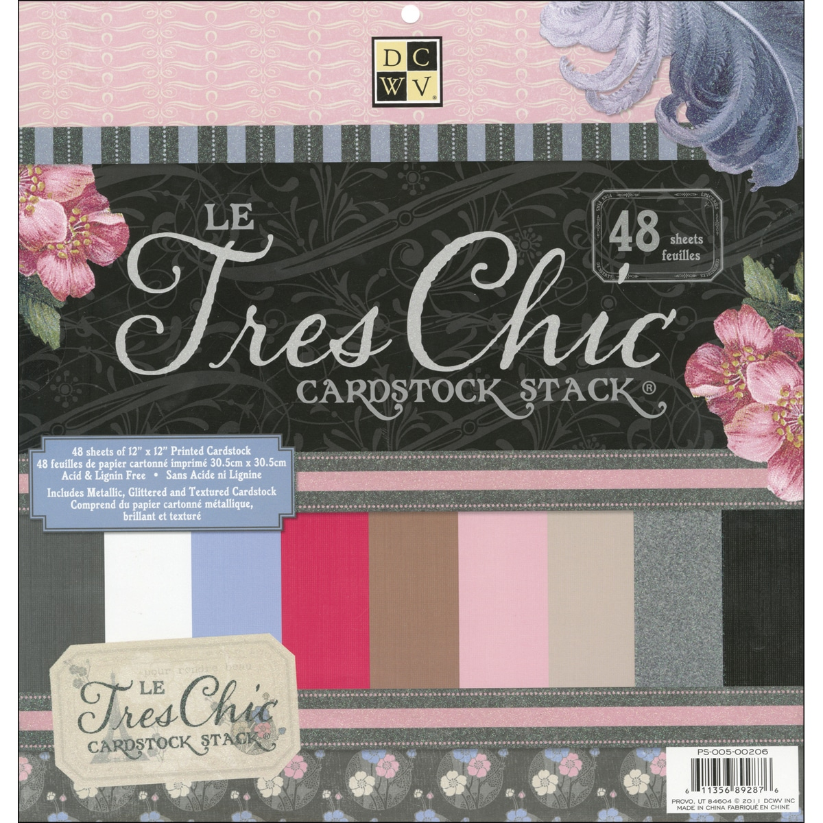 """Le Tres Chic Solid Cardstock Stack 12""""X12""""-48 Sheets"""
