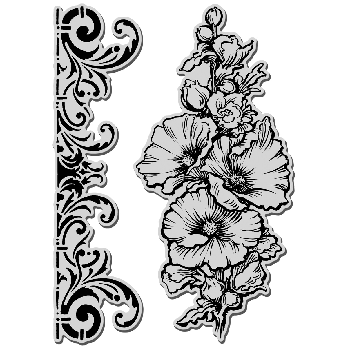 Stampendous Jumbo Cling Rubber Stamp-Hollyhock