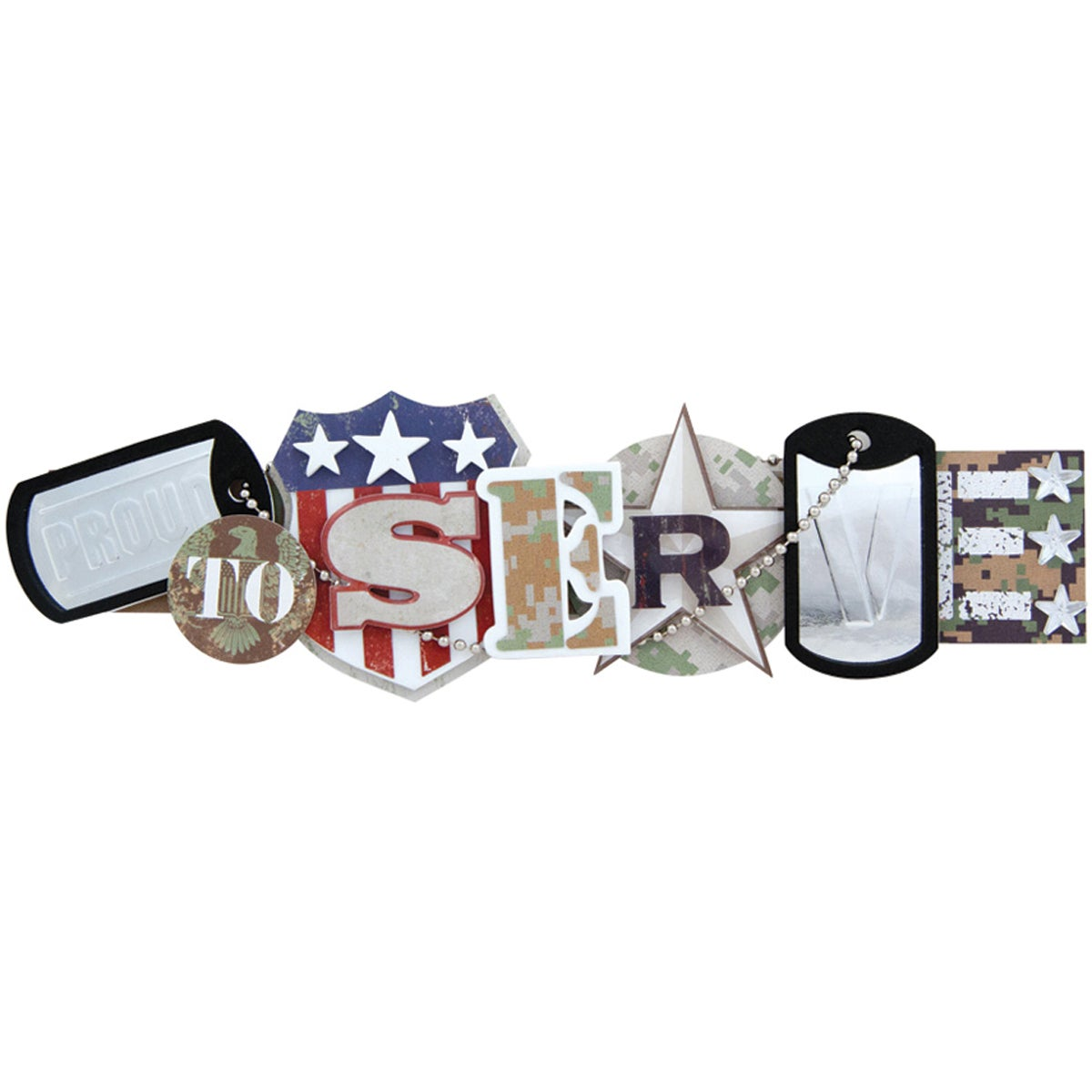 Military Stacked Statement 3-D Title Sticker-Proud To Serve