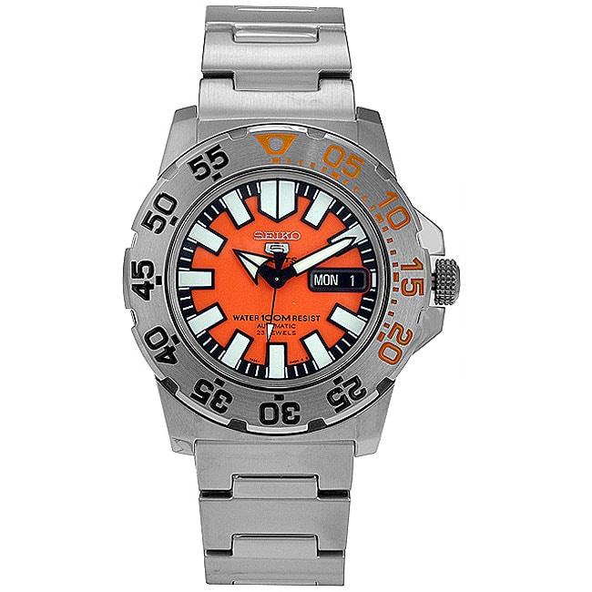 Seiko Men's 5 Automatic Orange Dial Stainless Steel Watch