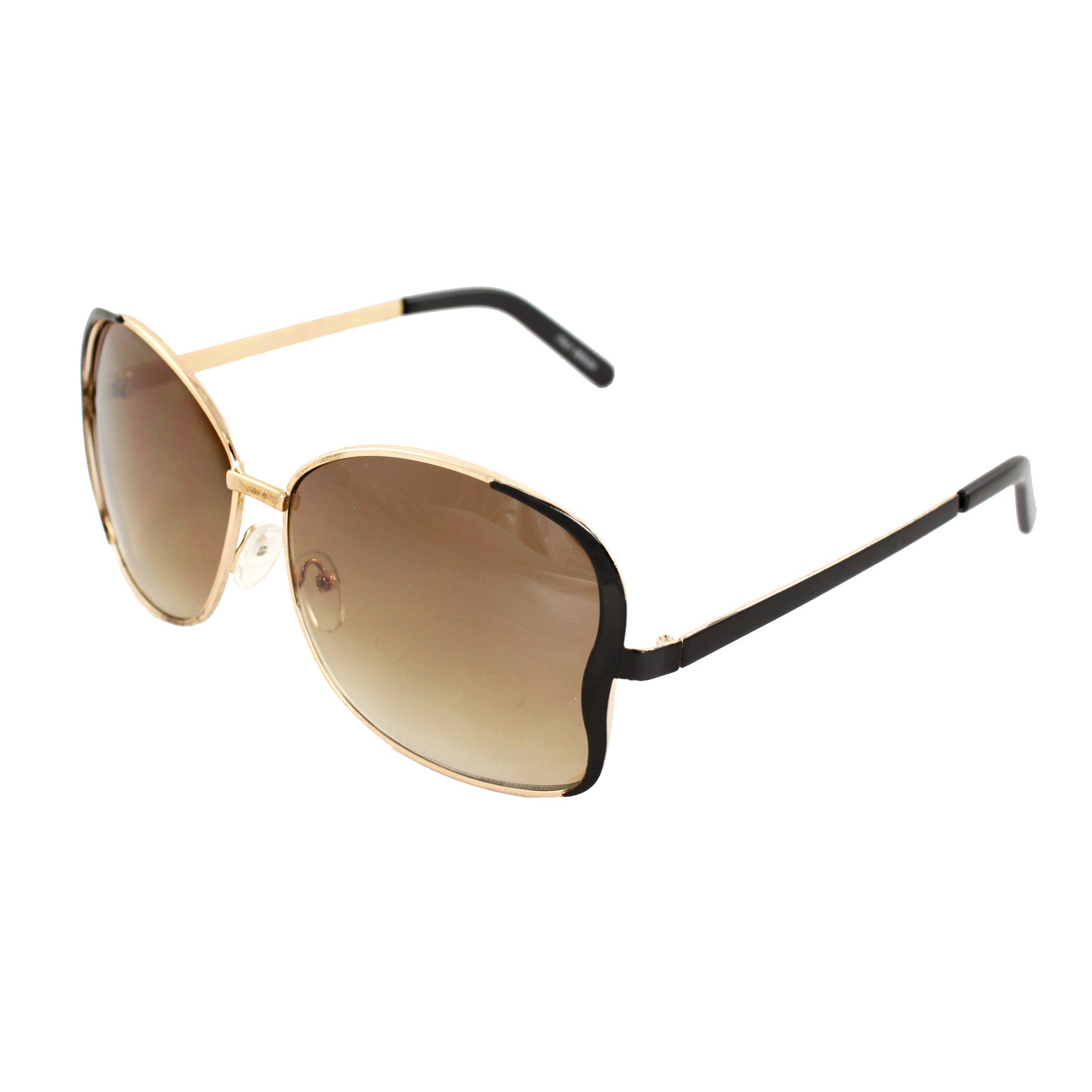 Stylish Butterfly Sunglasses Gold and Black Frame Amber Lenses for Women and Men
