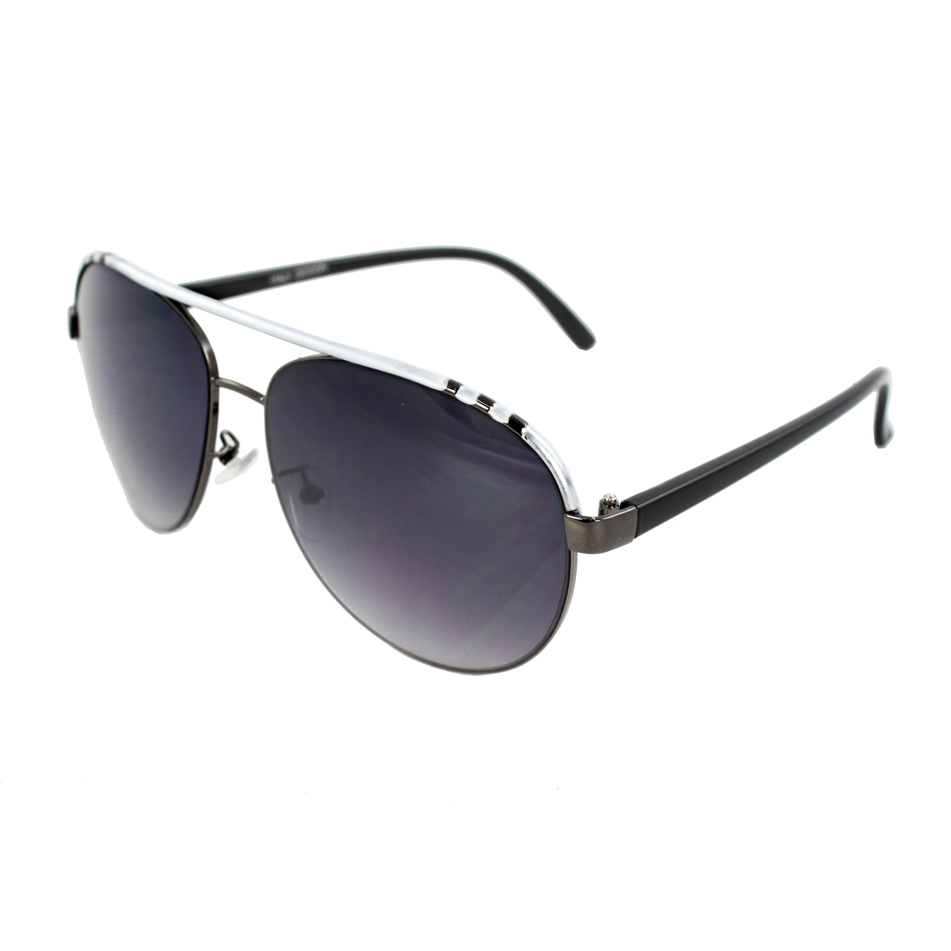 Pilot Aviator Fashion Sunglasses Silver and Black Frame Purple Black Lenses for Women and Men