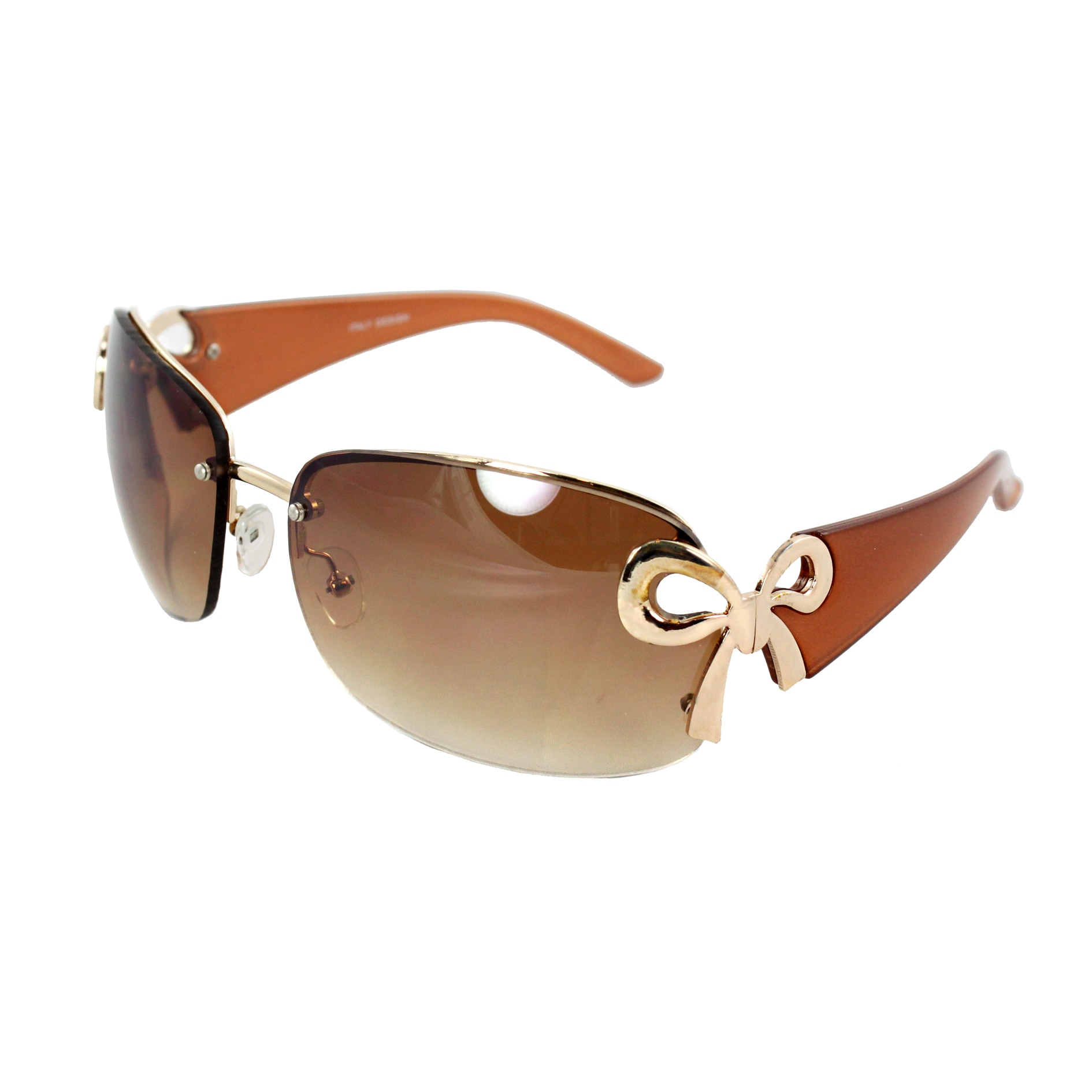 Women's Rimless Brown Frame Gradient Lens Butterfly Sunglasses