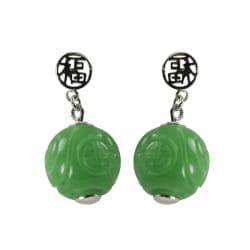 Gems For You Sterling Silver Carved Jade Dangle Earrings