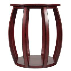 Red Wood Bird Cage End Table