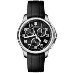 Victorinox Swiss Army Men's Officer's Chrono Black Dial Rubber Strap Watch