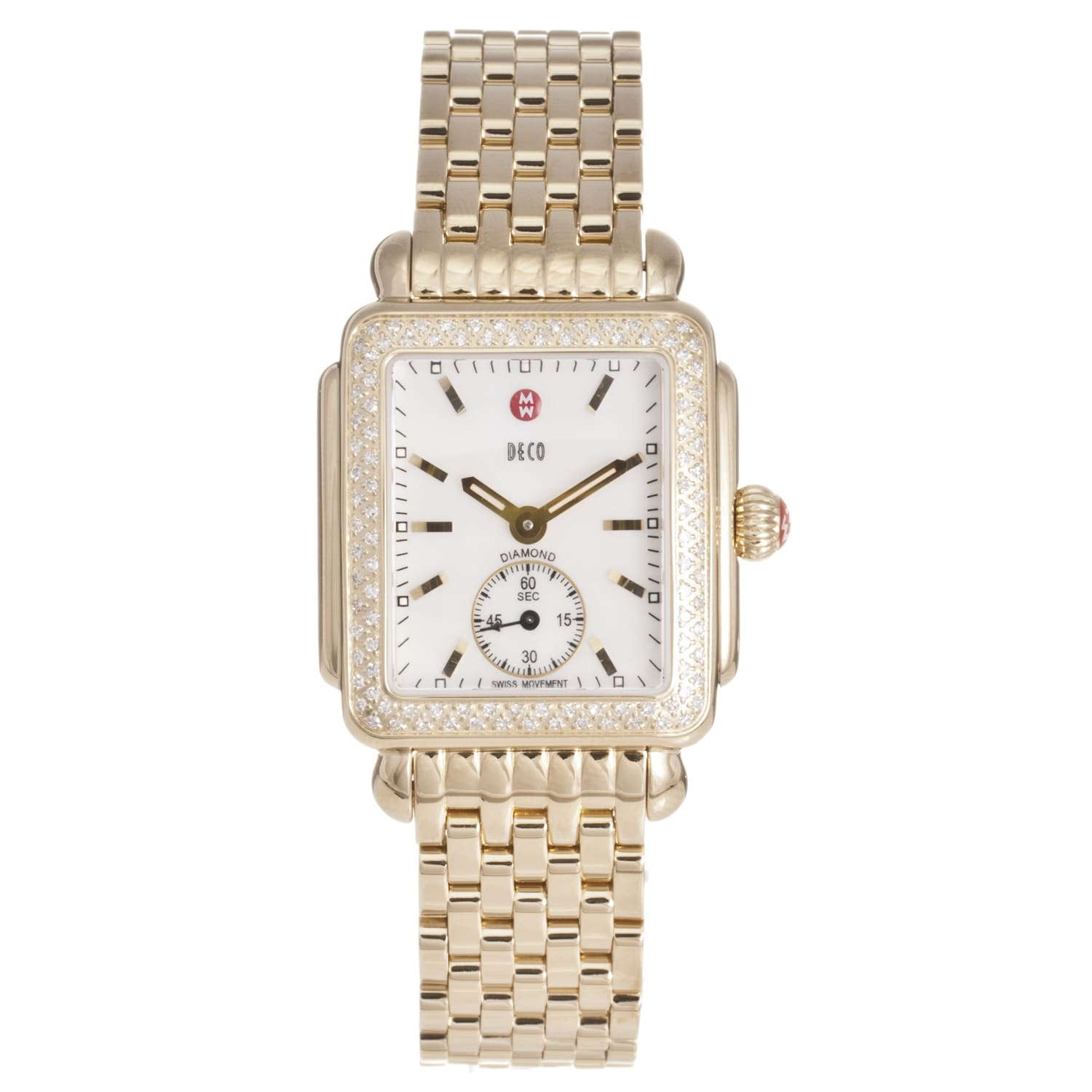 Michele Women's 'Deco' 18k Gold-plated Diamond Watch