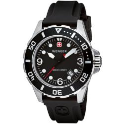 Wenger Men's Aquagraph Divers Black Dial Watch
