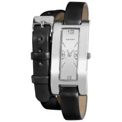 Vernier Women's Silver Tone V111-05 Black Double Wrap Watch