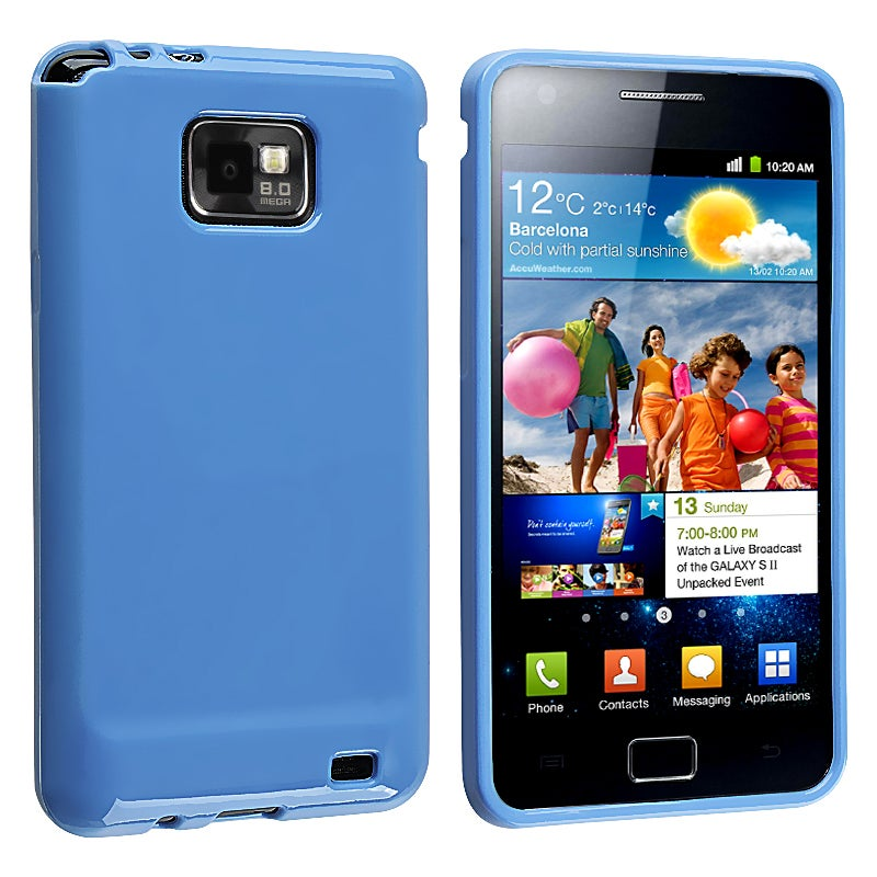 Blue Jelly TPU Rubber Skin Case for Samsung Galaxy S II i9100