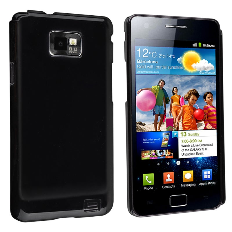 Black Glossy Snap-on Rubber Coated Case for Samsung Galaxy S II i9100