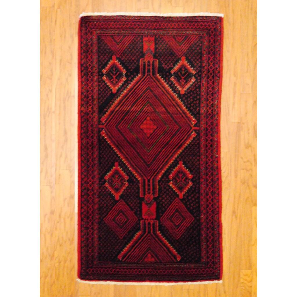 Persian Tribal Balouchi Black/ Red Wool Rug (3'2 x 5'10)