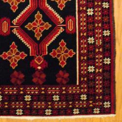 Persian Tribal Balouchi Navy/ Red Wool Rug (3'8 x 6'8)