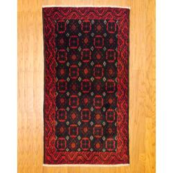 Persian Tribal Balouchi Brown/ Navy Wool Rug (3'5 x 6'2)